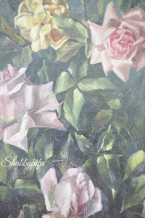 antique pink roses oil painting