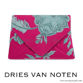 Queen Mathilde carried DRIES VAN NOTEN Floral Jacquard Silk Clutch
