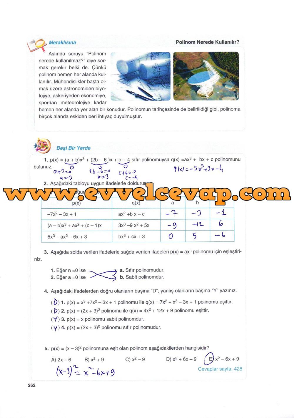 10. Sınıf Matematik Tuna Yayınları Ders Kitabı 262. Sayfa Çözümleri