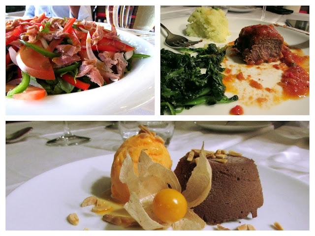 Vários pratos de comida