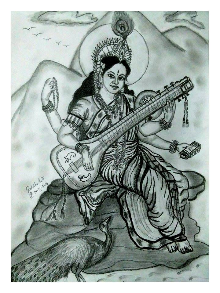 PENCIL DRAWING - SARASWATI
