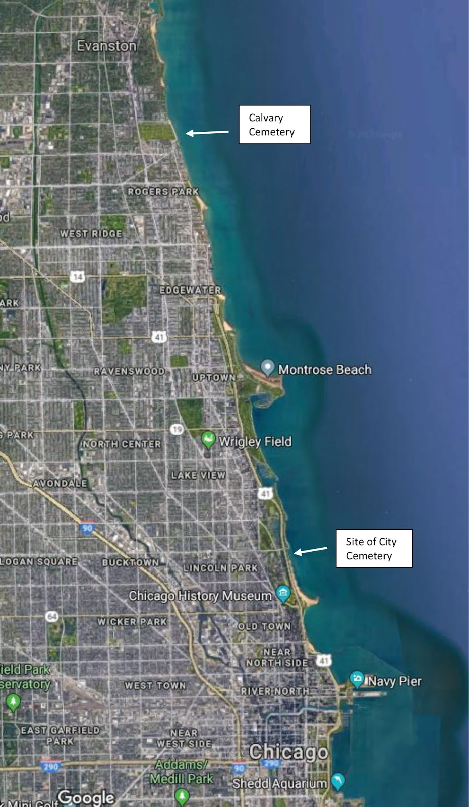 current chicago lake front from google maps