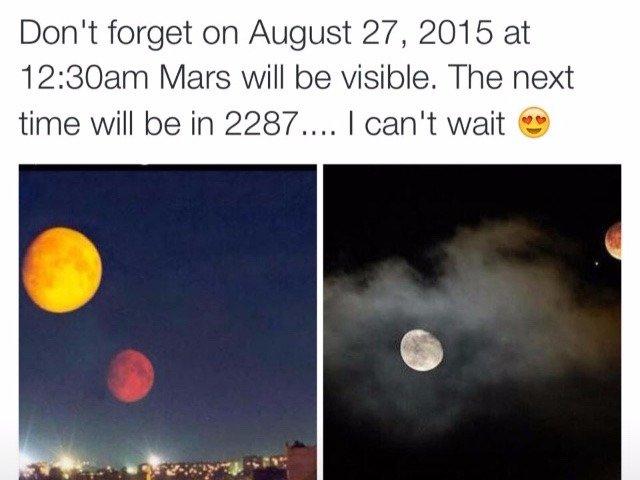 Marte gigante no céu em agosto de 2015
