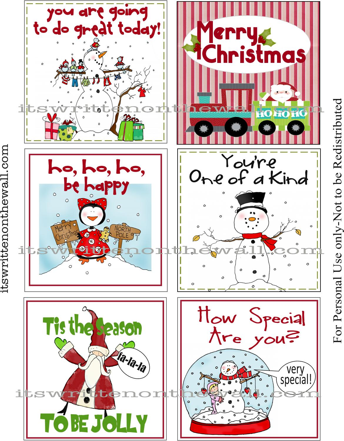 10 Free Printable Lunchbox Notes - Oh My Creative |Christmas Lunch Box Notes
