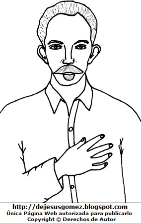 Dibujo de José Marti para niños para colorear pintar. José Marti hecho por Jesus Gómez