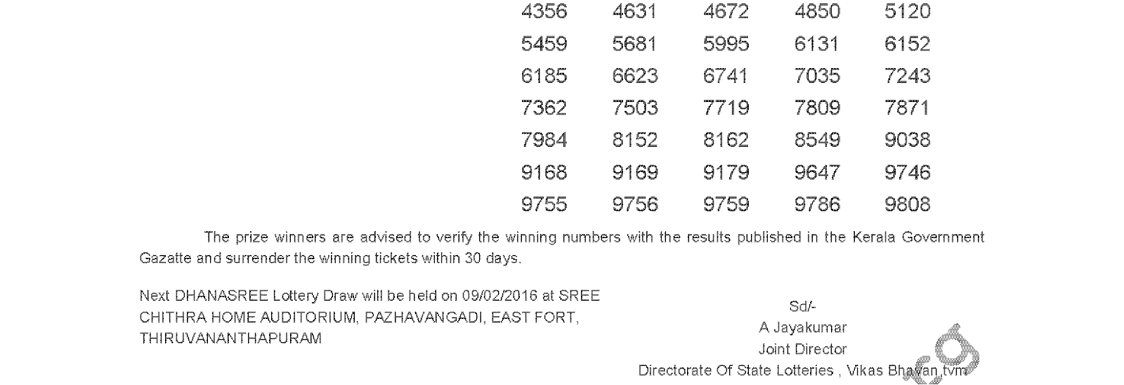 DHANASREE Lottery DS 222 Result 2-2-2016
