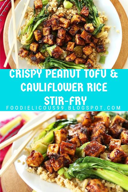 CRISPY PEANUT TOFU & CAULIFLOWER RICE STIR-FRY
