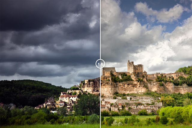 Dordogne images comparison with Photoshop editing then and now