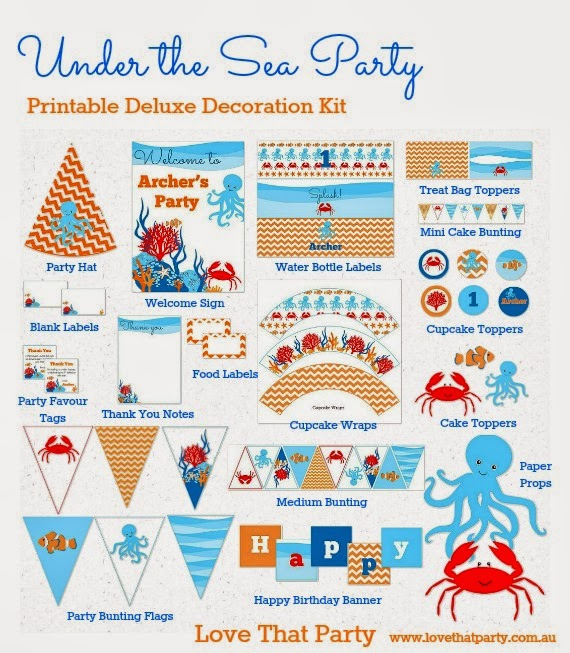 Under the Sea Party Printable Decorations by Love That Party.  Available now at http://lovethatparty.bigcartel.com/category/under-the-sea