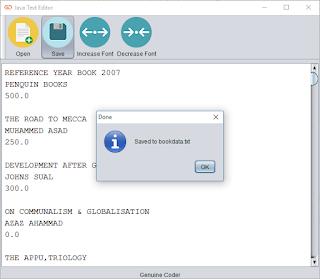 Java Text Editor Saved message