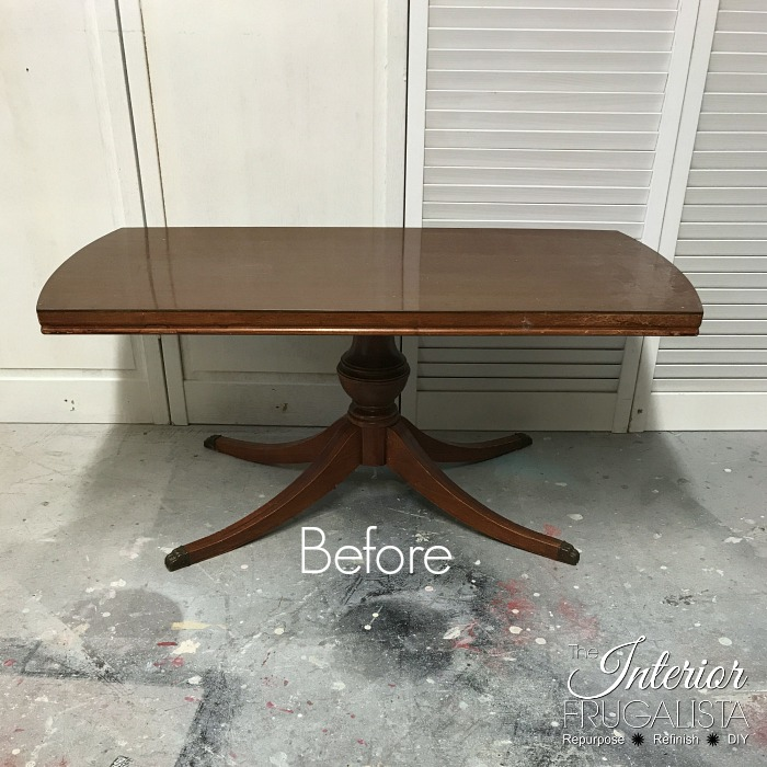 Duncan Phyfe Style Coffee Table Before Makeover