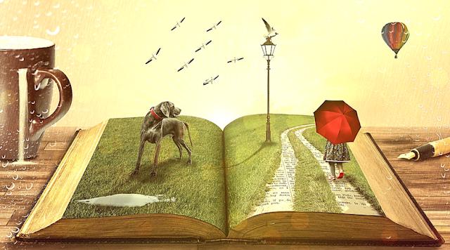 Você é Feito de Sonhos e Lutas - A imagem exibe um livro aberto, balão, cão, garota segurando guarda-chuva