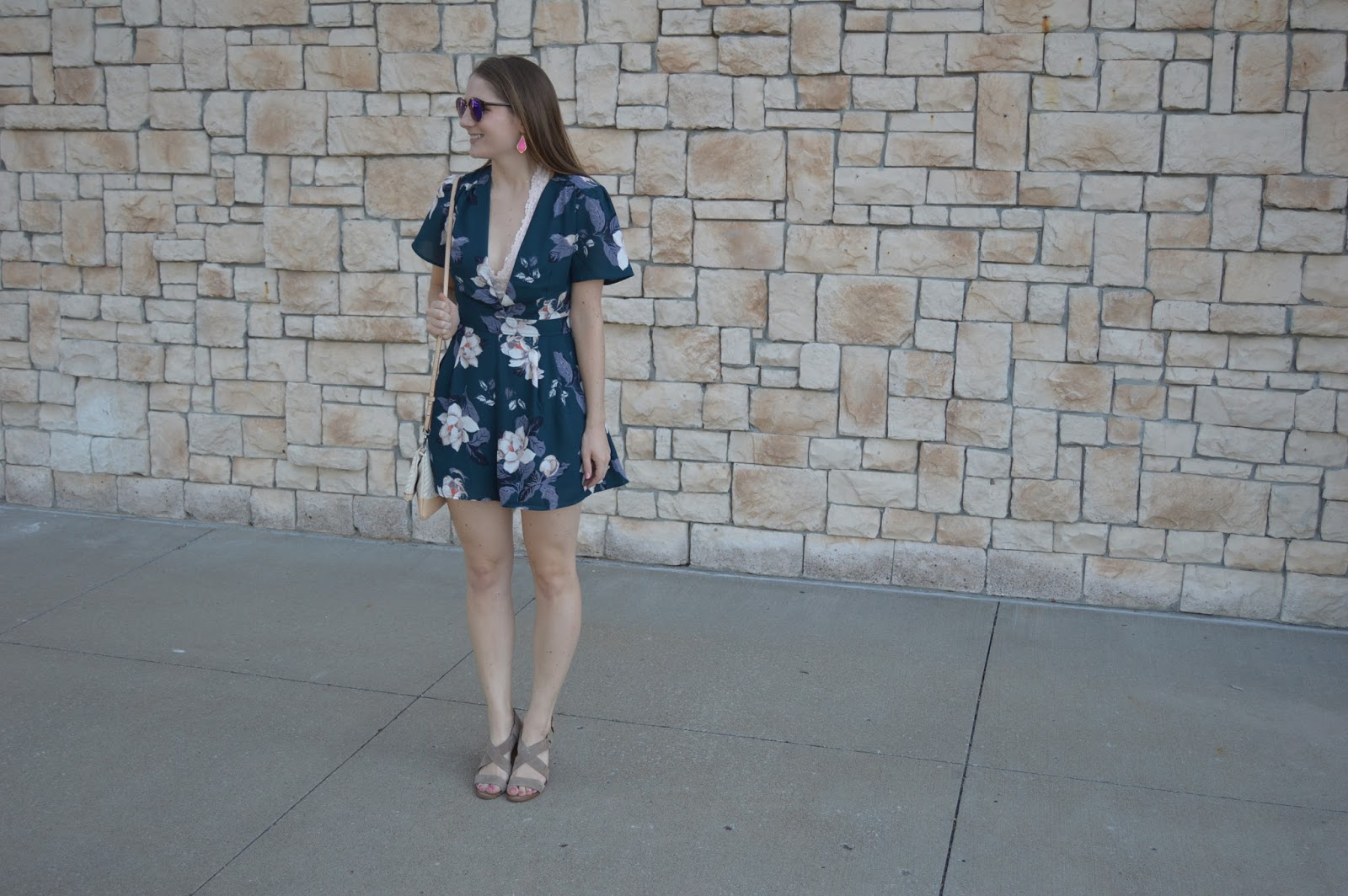 teal floral print romper | a memory of us | astr floral print romper | nordstrom anniversary sale haul | how to style a romper for summer | date night outfit ideas | a memory of us | romper with a bralette underneath | how do you wear a bralette |