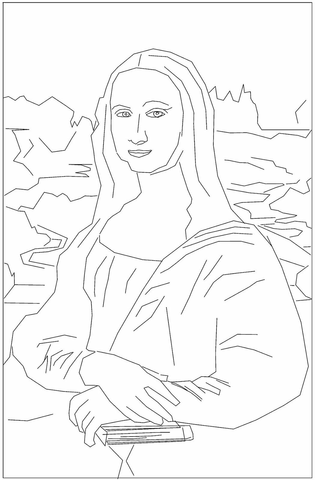 Drawing Mona Lisa Coloring Sheet Coloring Pages