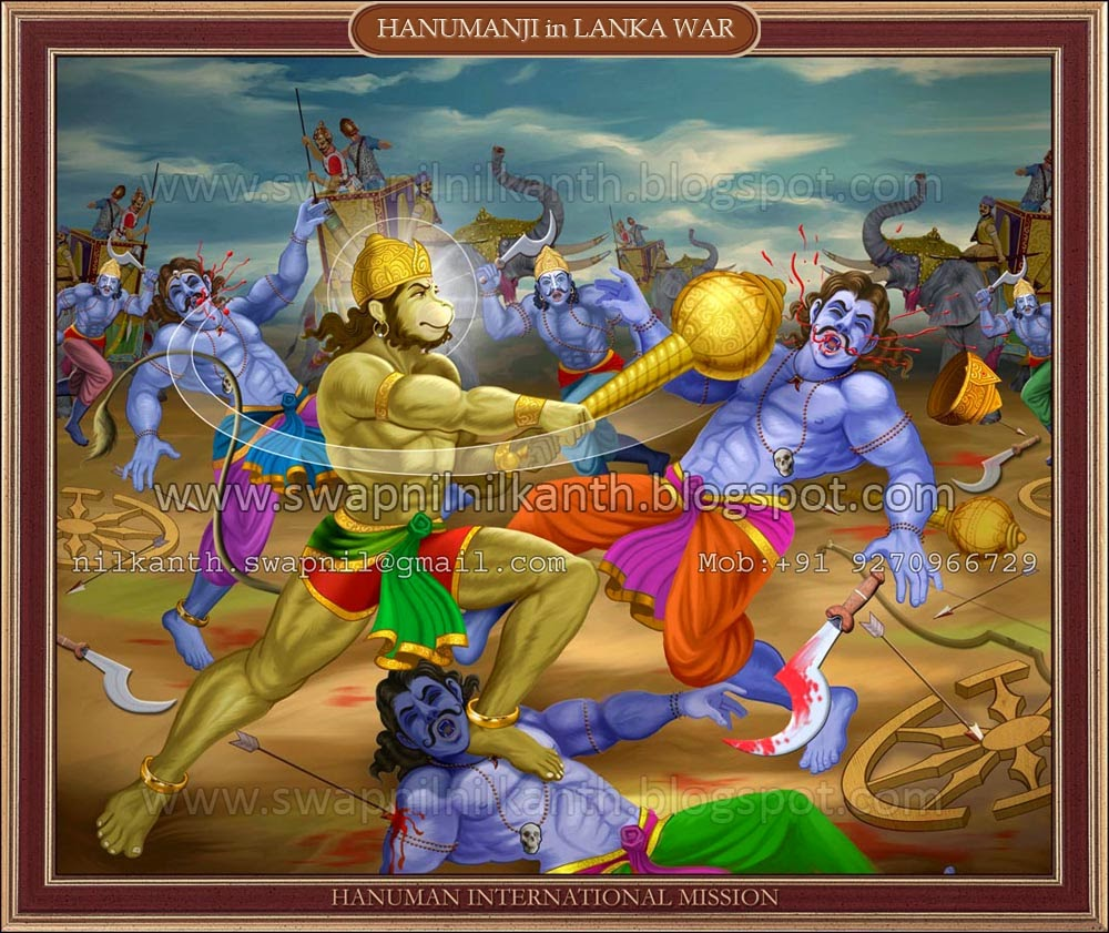 Hanuman in which they are doing war