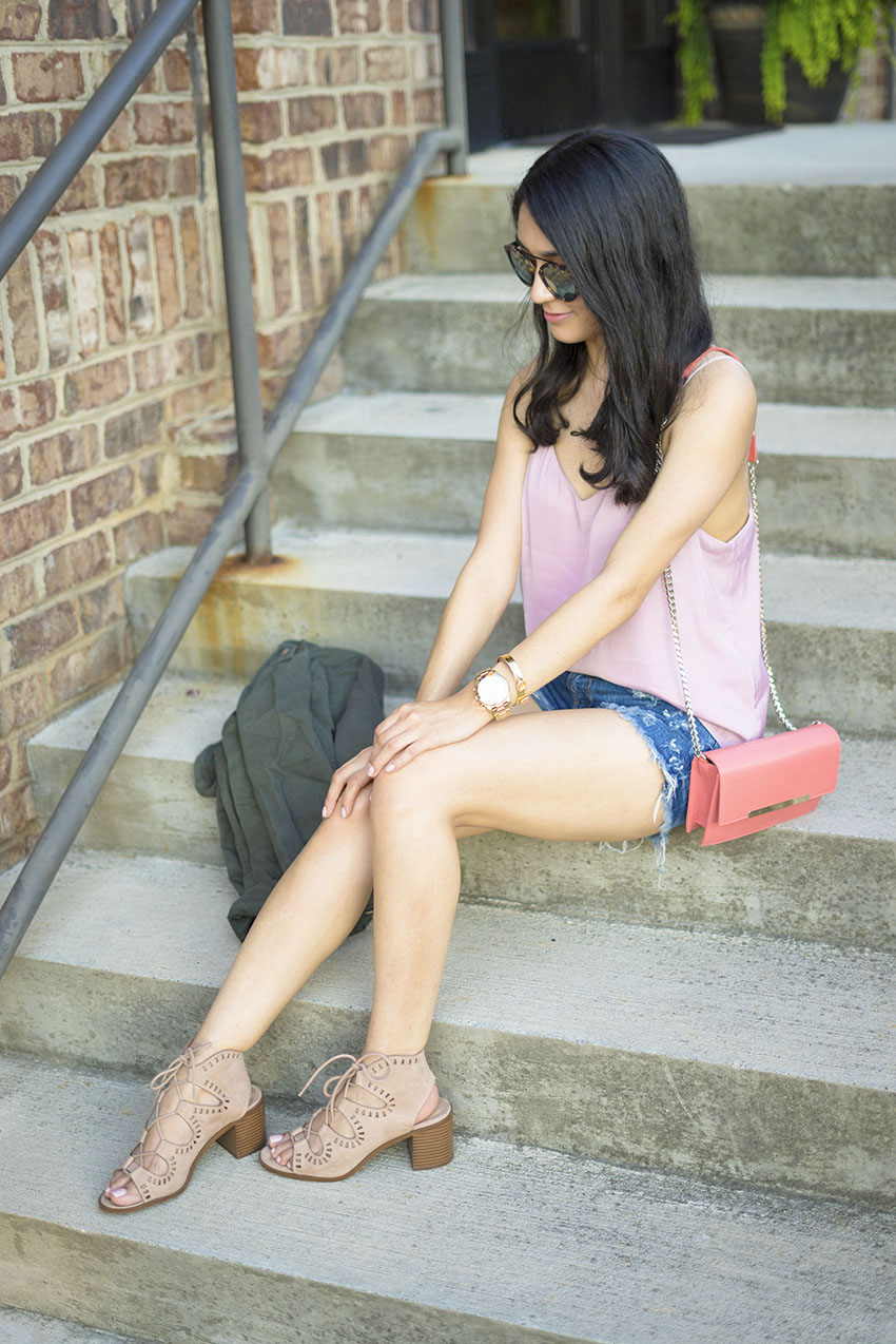 cute and easy summer outfits, pink lace cami, zara denim shorts, target lace up sandals, westward leaning flower sunglasses, summer outfits