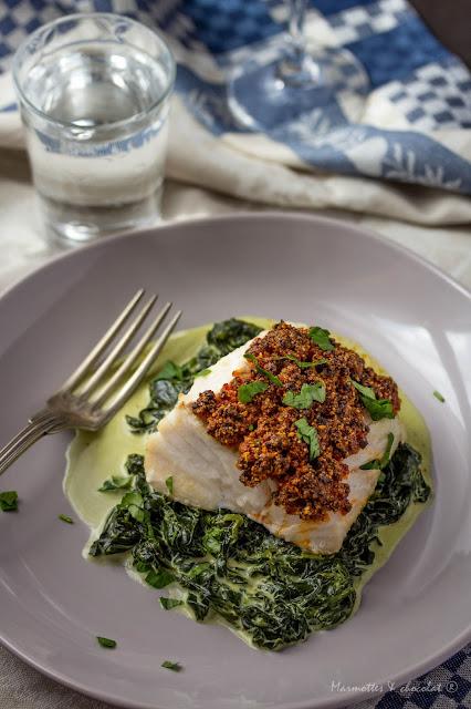 Филе от риба треска с коричка от чоризо / Dos de cabillaud en croute de chorizo