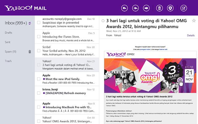 Tampilan New Yahoo! Mail di Windows 8