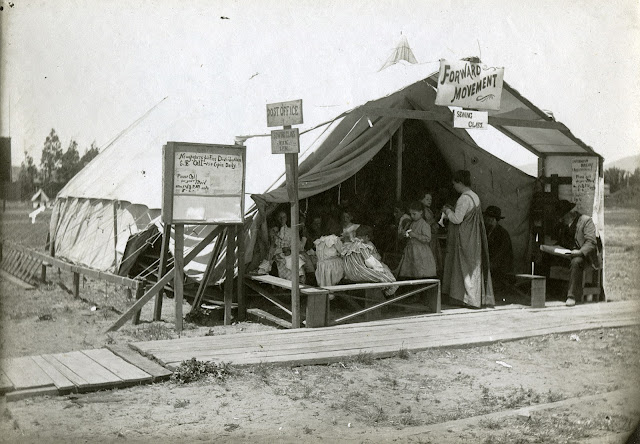 Sewing class at the refugee shack camp at Lobos Square, 1906 California Historical Society