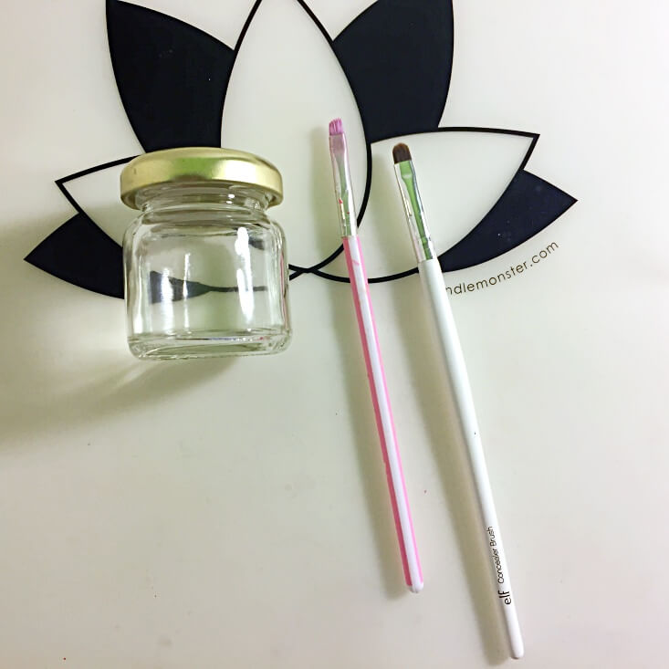 Acetone and brushes for nail polish clean up