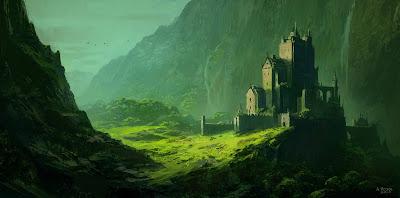 Castillo antiguo rodeado de verde y montañas