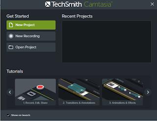 Aplikasi camtasia yang digunakan merekam layar laptop untuk membuat tutorial