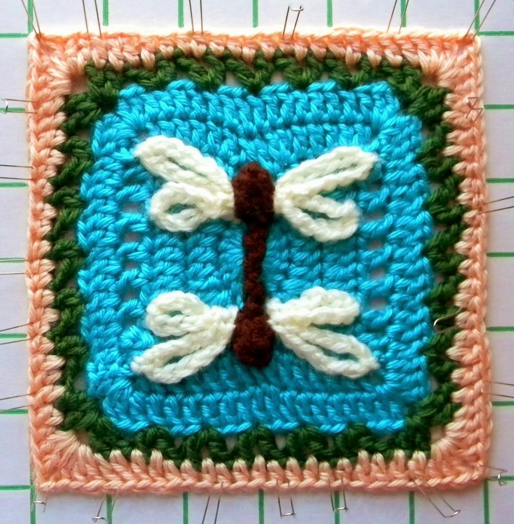 Reflected Dragonfly Granny Square
