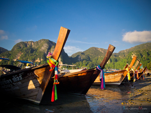 Long tail boats Ko Phi Phi Krabi Thailand