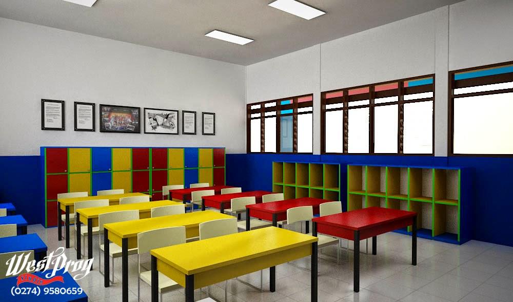 West Prog Studio Desain Sekolah Lazuardi Warna Cerah Menyenangkan Di Ruang Kelas