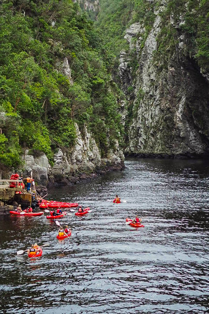 Kayaking on Storms River Mouth in Tsitsikamma park, South Africa