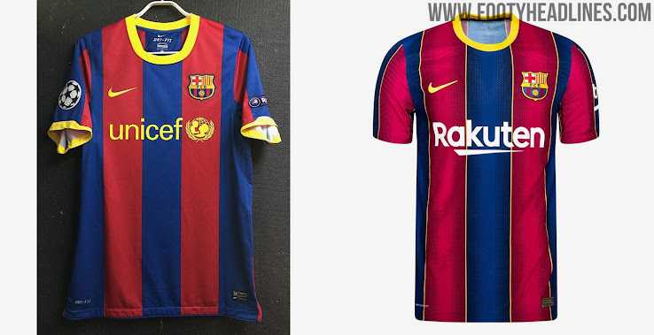 Fc Barcelona 20 21 Vs 10 11 Home Kit 10 Years Champions League Title Anniversary Footy Headlines