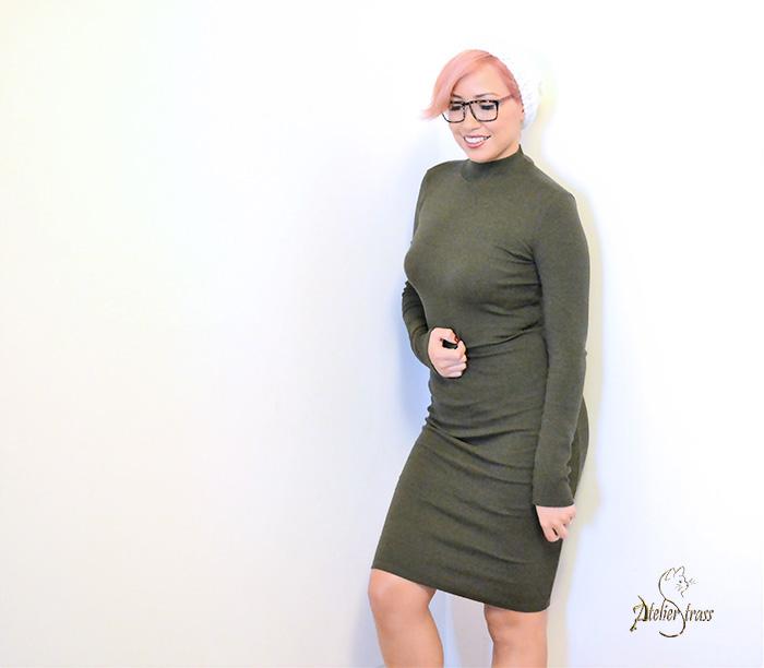 vestido mini verde militar