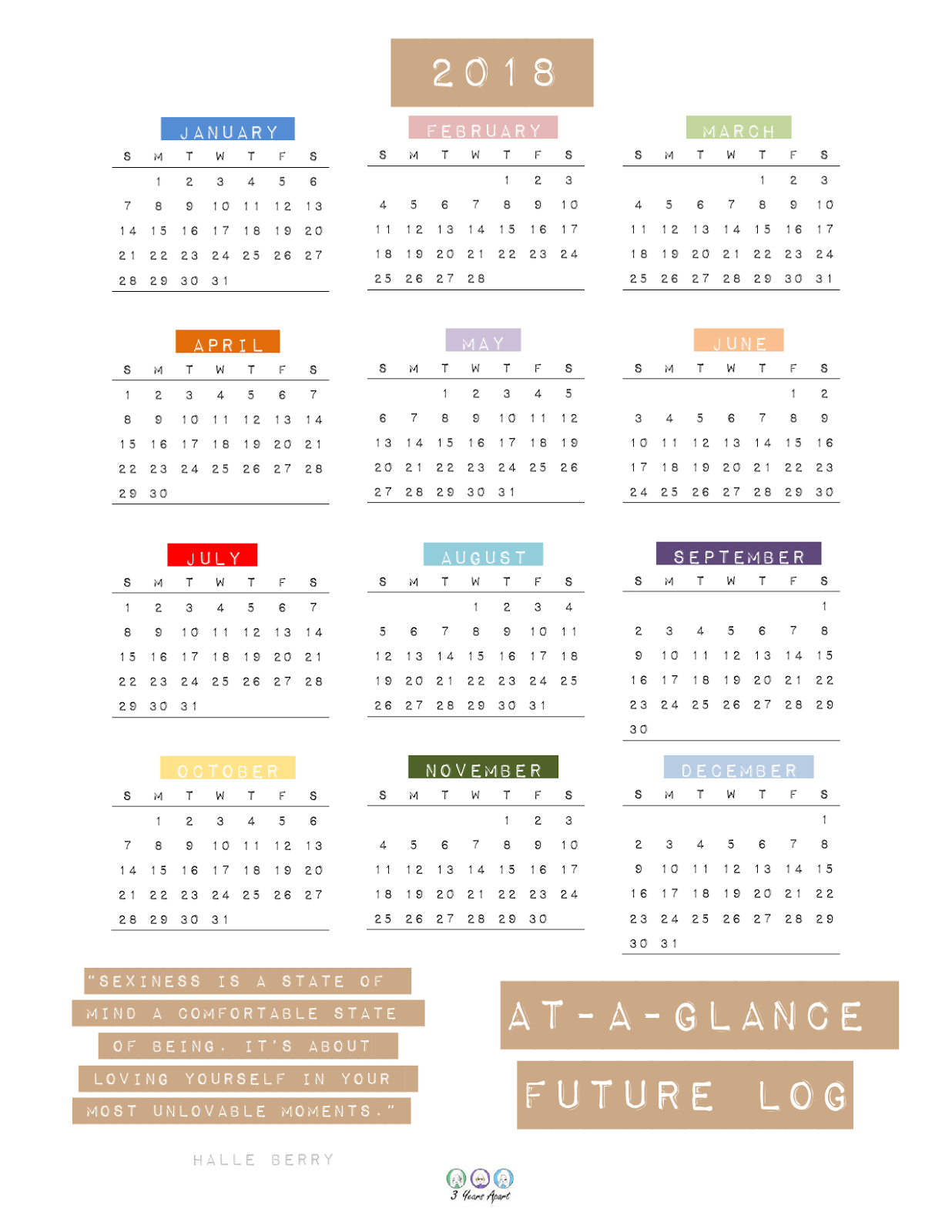 Yearly At A Glance And Future Log Printable