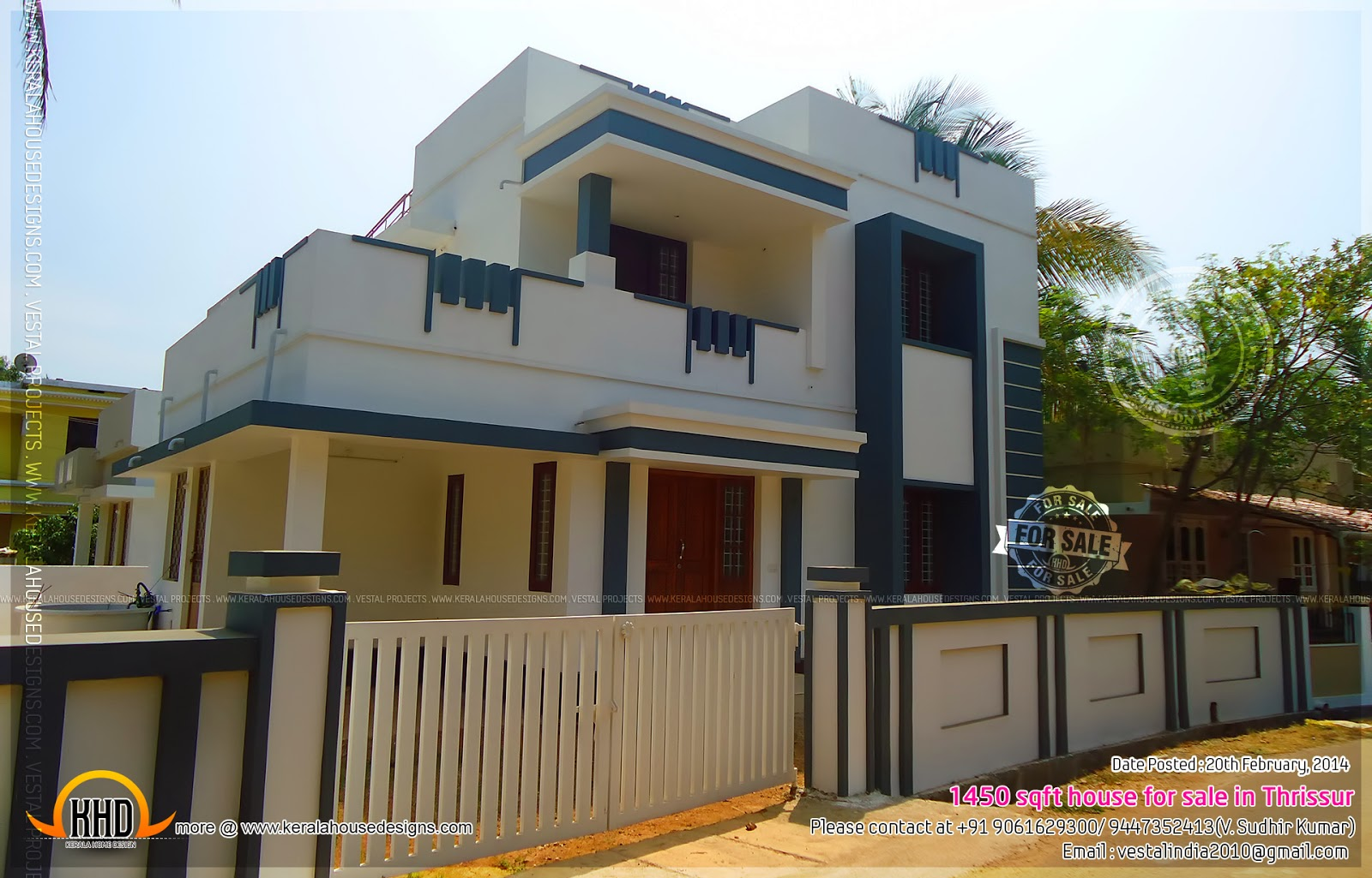 Front Elevation Designs With Balcony : Sqft house for sale in thrissur kerala home design
