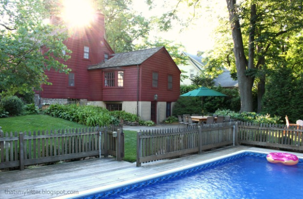 backyard antique farmhouse with pool