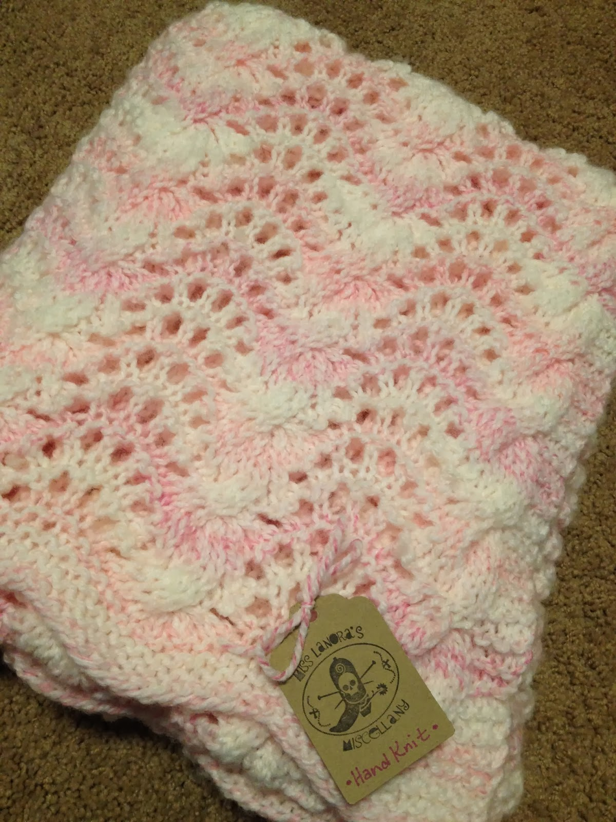 Live To Ride Love To Knit Feather And Fan Baby Blanket