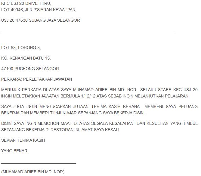 Sample Of Surat Berhenti Kerja (Resignation Letter