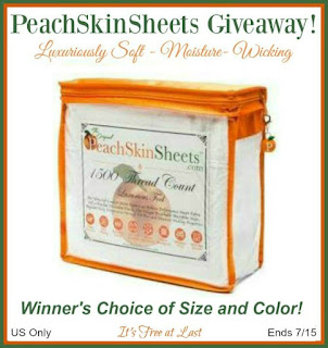 Enter the July PeachSkinSheets Giveaway. Ends 7/15