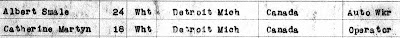 "Michigan Department of Community Health, Division for Vital Records and Health Statistics, ""Michigan, Marriage Records, 1867-1952,"" database, Ancestry.com (www.ancestry.com : accessed 7 Jan 2019), entry for Albert Smale and Catherine Martyn, married 5 Dec 1925; citing Michigan Department of Community Health, Division of Vital Records and Health Statistics; Lansing, MI, USA; Michigan, Marriage Records, 1867-1952; Film: 186; Film Description: 1925 Wayne; Record Number 303245."