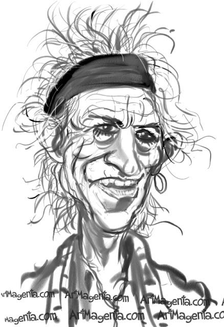 Keith Richards caricature cartoon. Portrait drawing by caricaturist Artmagenta