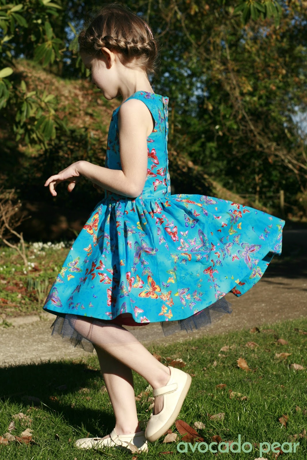 Blue butterfly spinning dress