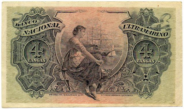 India Banco Nacional Ultramarino Banknotes 4 Tangas