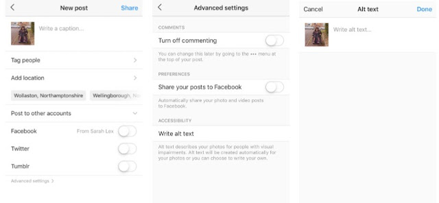 Screenshot of how to use alt text for instagram
