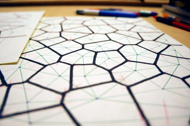 close up of hand-drawn Voronoi diagram