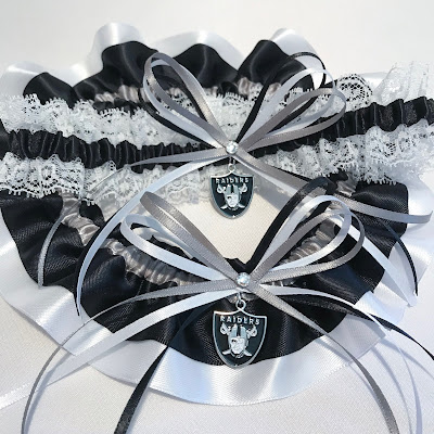 Oakland Raiders Wedding Garter Set by Sugarplum Garters