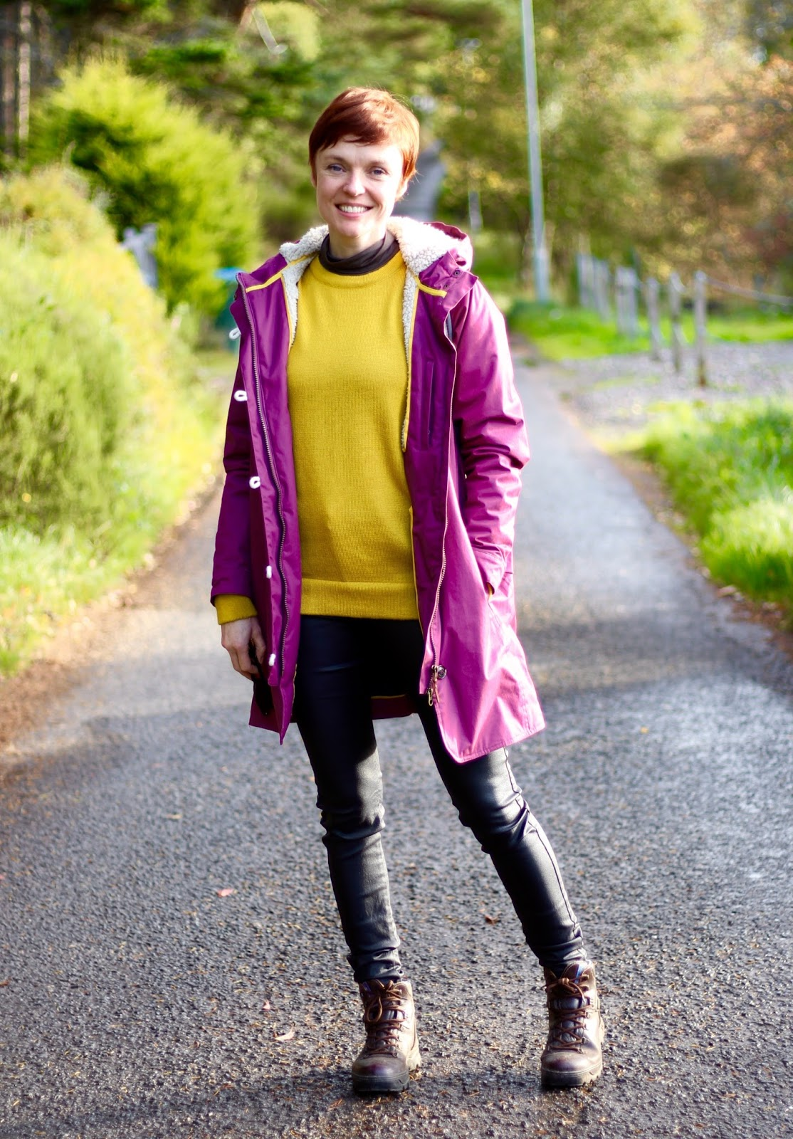 Lighthouse waterproof jacket, Kettlewell yellow jumper, coated jeans & Walking boots | Fake Fabulous