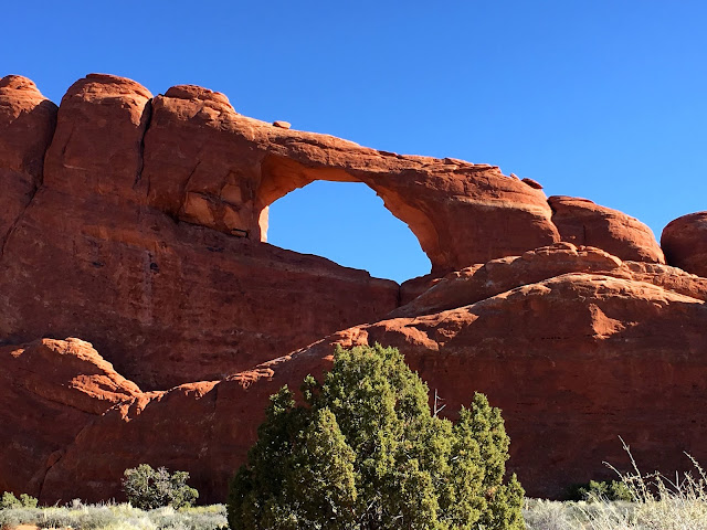 Skyline Arch in Arches National Park from the trail.