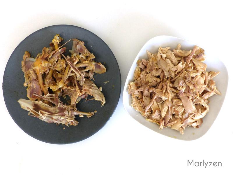 Dépiautez le poulet et remettez les os dans le bouillon.