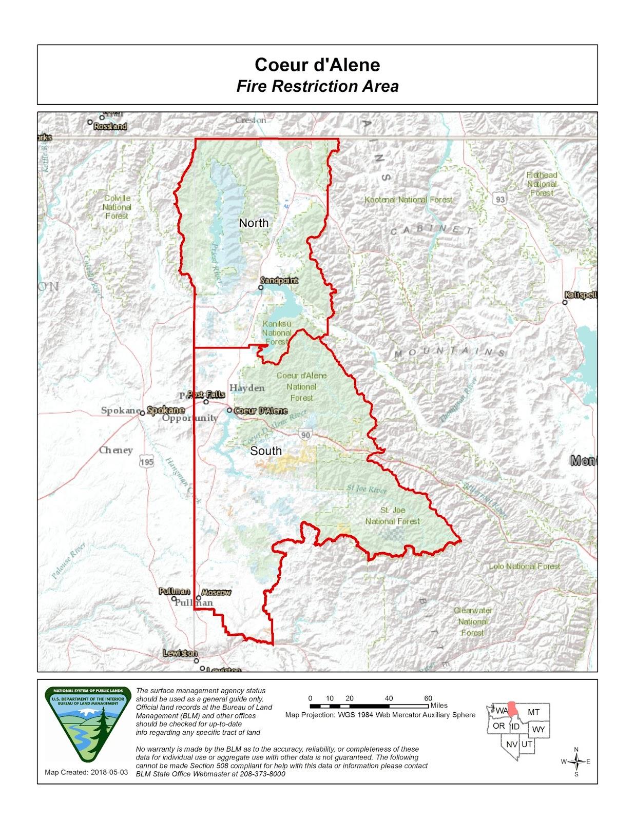 Idaho Fire Information Coeur D Alene Fire Restrictions Area