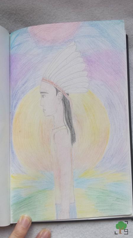 rysunek, Ameryka Północna, kreatywnie, Indianie, New Age, kolorowy wiatr